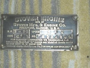 Vtg Stover Hit Miss Engine Type Ct2 2 2 1 2 Brass Id Tag