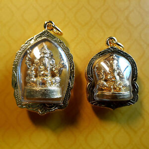 2 Pcs Thai Amulet Gold God Ganesh Elephant Gold Frame Pendant