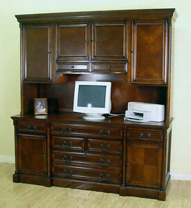 Cherry Traditional Office Computer Credenza armoire With File Hutch