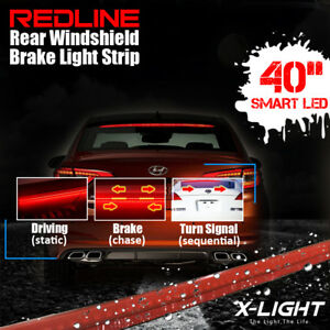 Redline Car Rear Windshield Dynamic High Mount Brake Stop Tail Light Led Lamp
