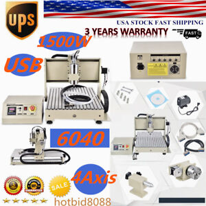 Usb 1500w 6040 4 Axis Cnc Engraving Machine Metalworking Drilling Milling 1 5kw