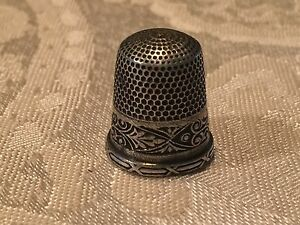 Antique Simons Brothers Sewing Thimble Size 9 Sterling Silver