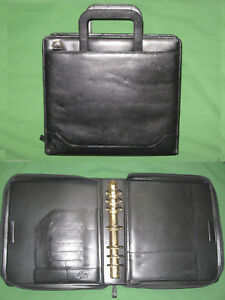 Monarch 1 75 Black Full Grain Leather 8 5x11 Franklin Covey Planner Binder
