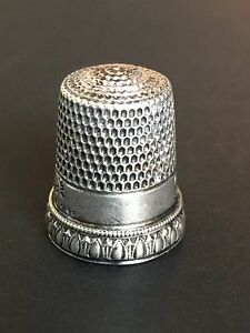 Antique Sterling Silver Priscilla Simons Bros 1899 Thimble Rare