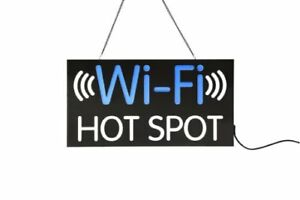 Displays2go Led Business Sign With Wi fi Hot Spot Message Blue white Jledwfhs