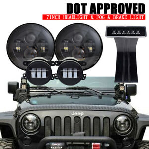 For Jeep Wrangler Jk 7 Headlight Turn Signal Lamp Front Grille Halo Fog Lights