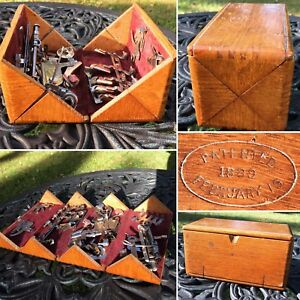 Vtg Wooden Oak Puzzle Box For Sewing Machine Attachments Patent 1889 Plus Tools