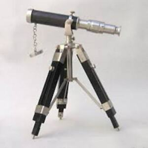 New Antique Vintage Telescope 12 Telescope With Tripod Stand Nickle Finish