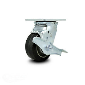 Scc 4 Rubber On Aluminum Wheel Swivel Caster W brake 400 Lbs caster