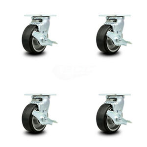 Scc 5 Rubber On Aluminum Wheel Swivel Casters W brakes Set Of 4