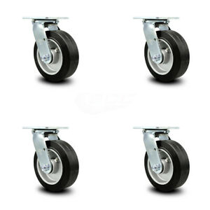 Scc 6 Rubber On Aluminum Wheel Swivel Casters Set Of 4