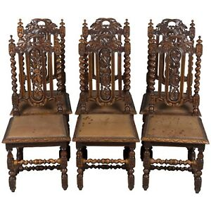 Antique French Set Of Six Barley Twist Carved Oak Dining Room Kitchen Chairs