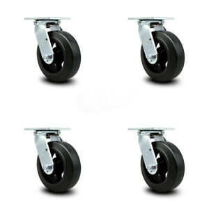 Scc 6 Rubber On Cast Iron Wheel Swivel Casters Set Of 4