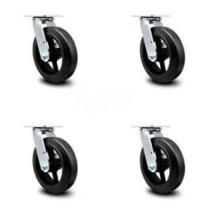 Scc 8 Rubber On Cast Iron Wheel Swivel Casters Set Of 4