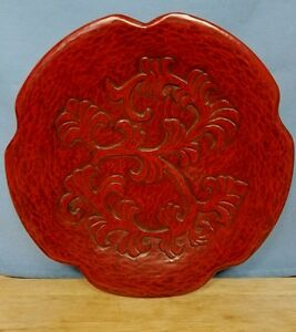Japanese Lacquer Hand Carved Wooden Oriental Red Vintage Pedestal Dish Signed