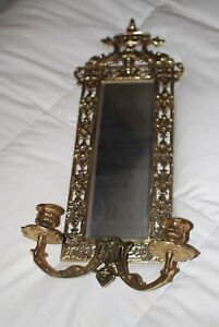 Antique Victorian Brass Mirror With Candle Lholder
