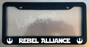 Rebel Alliance Star Wars Fans Glossy Black License Plate Frame Screw Caps