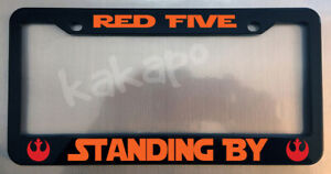 Red Five Standing By Star Wars Fans Glossy Black License Plate Frame Caps