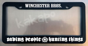 Winchester Bros Saving People Hunting Supernatural Glossy Black Plate Frame