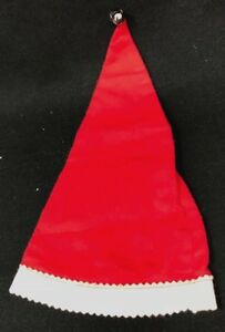 Antique Vintage Felt Pointy Santa Christmas Hat With Bell Doll Size