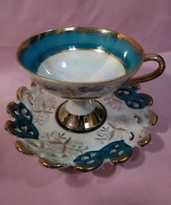 Vintage Lefton China Hand Painted Cup And Saucer Green Gold Pearl 1424