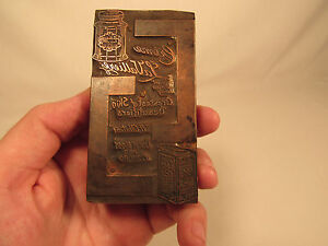Antique Copper Wood Advertising Print Block Creme La Valliere Beauty Care