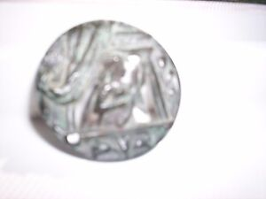 Beautiful Old Button With Ballad Medievel Mandalin Player On Balconey Ornate Lge