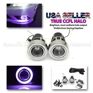 Sporty Jdm 3 Purple Ccfl Halo Projector Fog Lights Dual Switch For Nissan Cars