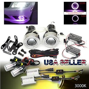 3 Purple Ccfl Halo Projector Fog Lights Switch For Chevy 55w 3000k Yellow Hid