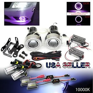 3 Purple Ccfl Halo Projector Fog Lights Dual Switch For Chevy 10000k Blue Hid