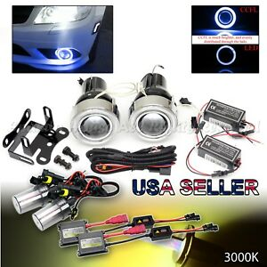 Jdm 3 Blue Ccfl Halo Projector Fog Lights Dual Switch 3000k Hid For Nissan Car
