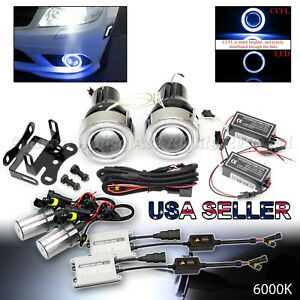 Jdm 3 Blue Ccfl Halo Projector Fog Lights switch 6000k 55w Hid For Nissan Car