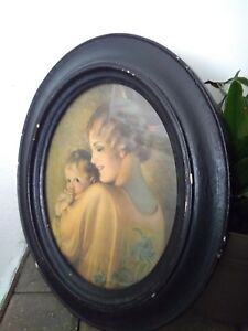 Vintage Antique Mother And Baby Print Oval Wood Frame Chippy Shabby Chic 1920s