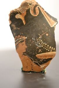 Ancient Greek Attic Redware Vase Fragment With Figure Of A Woman