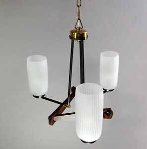 Minimalist 50s Italian Vintage Opaline Glass Metal And Wood 3 Lights Chandelier