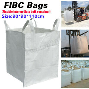 Heavy Duty Fibc Bulk Super Sack 1 5 Ton Bag 90x90x110cm 3300lb Swl Waste Storage
