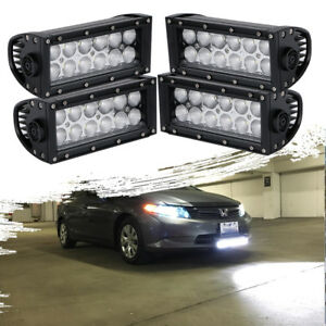 4x7 Led Pod Work Rv Light Bar Flood Beam Off road Driving Fog Lights 12v
