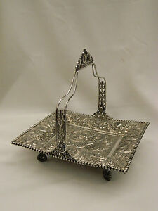 Antique Tufts Silverplate Elaborate Repouss Mermaid Victorian Brides Basket