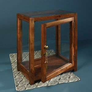 Solid Mango Wood Display Cabinet With Glass Doors Locks Brass Hardware New