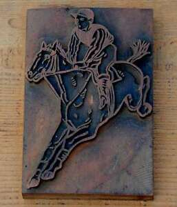 Horse Horseman Letterpress Wooden Printing Block Very Rare Wood Printer Rider