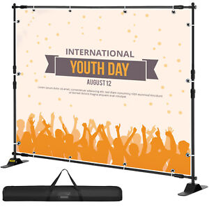 Heavy duty Step And Repeat Backdrop Telescopic Banner 8 x 8 Stand Adjustable Sk