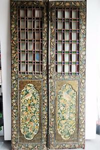 A Pair Of Real Antique Persian Qajar Miniature And Stained Glass Doors