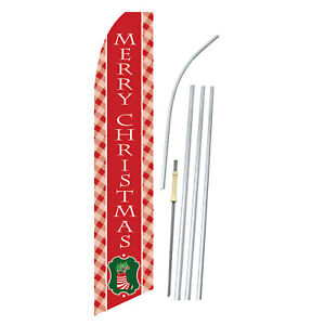 Merry Christmas Stocking Happy Holidays Swooper Feather Banner Flag Bundle Kit