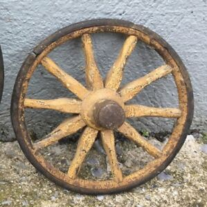 Vintage Antique Wooden Wheel Cart Wagon Primitive Decor 8 5
