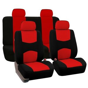 Red And Black Auto Car Seat Covers Full Set For Solid Benches