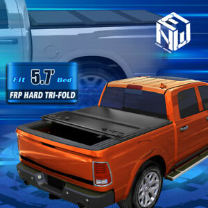 For 09 18 Ram Truck 5 8ft Short Bed Hard Solid Tri Fold Clamp On Tonneau Cover