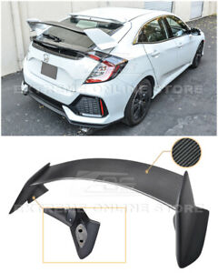 Type R Style Carbon Fiber Rear Trunk Lip Spoiler For 16 Up Honda Civic Hatchback