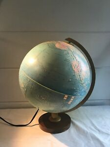 Vintage Replogle Lighted Light Up Spinning World Topography Globe On Wood Base