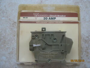 New Old Stock Wadsworth Wa 20 20a Single Pole Circuit Breaker Free Shipping