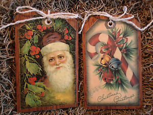 5 Wooden Ornaments Hang Gifttags Vintage Santa Candycanes Candle Snowmen Set 2